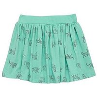 Mini V by Very Girls Cat Print Green Skirt, Multi, Size Age: 12-18 Months, Women