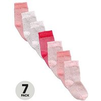 Mini V by Very Girls Neppy Striped Socks (7 Pack), Multi, Size 0-2.5, Women