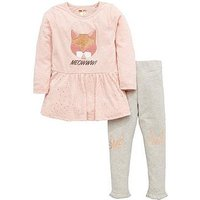 Mini V by Very Girls Meow Cat Applique Tunic & Legging Outfit, Pink/Gold, Size Age: 6-9 Months, Women