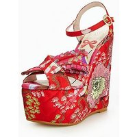 KG Halo Printed Highe Wedge, Red, Size 5, Women