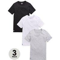 Lacoste 3pk Slim Fit Crew Neck T-Shirt, White/Black/Grey, Size L, Men