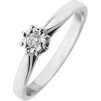 Starlight 9ct Gold 1/4ct look 5 Point Diamond Illusion Set Solitaire Ring, White Gold, Size P, Women