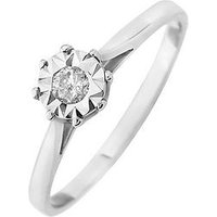 Starlight 9ct Gold 1/2ct look 10 Point Diamond Illusion Set Solitaire Ring, Yellow Gold, Size P, Women