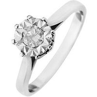 Starlight 9ct Gold 1ct look 25 Point Diamond Illusion Set Solitaire Ring, White Gold, Size I, Women