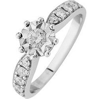 Starlight 9ct Gold 1.25ct look 50 Point Illusion Set Diamond Ring With Stone Set Shoulders, Yellow Gold, Size M, Women