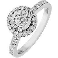 Starlight 9ct Gold 1.5ct Look 75pts Diamond Illusion-set Halo Ring, White Gold, Size T, Women