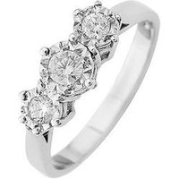Starlight 9ct Gold 1ct look 25 Point Illusion Set Trilogy Ring, White Gold, Size Q, Women