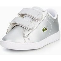 Lacoste Carnaby Evo Strap Shoe, Silver, Size 7 Younger