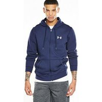 UNDER ARMOUR Rival Fitted Full Zip Hoody, Navy, Size S, Men