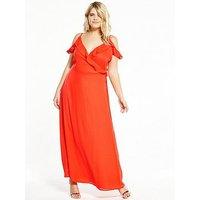 Fashion Union Curve Fashion Union Curve Cold Shoulder Maxi Dress, Orange, Size 26, Women