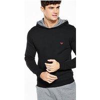 Emporio Armani Hooded Loungetop, Black, Size L, Men