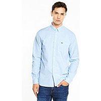 Lacoste Lacoste Sportswear Long Sleeve Oxford Shirt, Lagoon/White, Size 38, Men