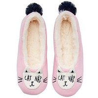 Joules Girls Pink Cat Slipper, Pink, Size M