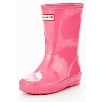 Hunter First Classic Gloss Wellies, Fuchsia, Size 10 Younger