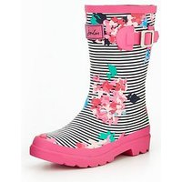 Joules Girls Pink Stripe Floral Welly, Pink, Size 12 Younger