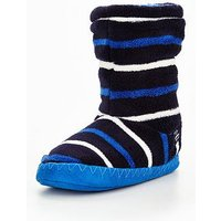 Joules Boys Stripe Booty Slipper, Navy, Size Xs