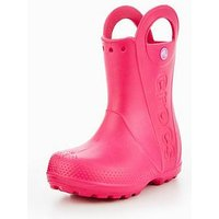 Crocs CROC HANDLE IT RAIN BOOT WELLIE, Pink, Size 3 Older