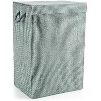 Minky Laundry Hamper/Basket Grey Check In Canvas