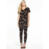 V by Very Cowl Neck Jersey Jumpsuit, Floral Print, Size 8, Women