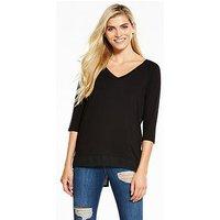 V by Very Chiffon Back Oversized T-Shirt, Ivory, Size 10, Women
