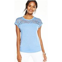 V by Very Lace Panel T-shirt, Baby Blue, Size 14, Women