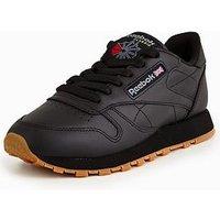 Reebok CL Leather - Black , Black/Gum, Size 3, Women
