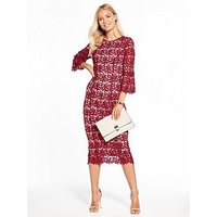 V By Very Lace Fluted Sleeve Fitted Dress