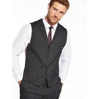 Skopes Connor Check Waistcoat, Charcoal, Size 46, Men
