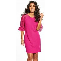 V by Very Lace Sleeve Tunic, Pink, Size 8, Women
