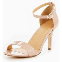 V by Very Gem Extra Wide Fit Mid Height Heeled Sandal - Nude, Nude, Size 4, Women