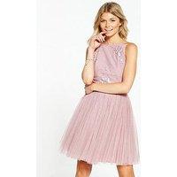 Little Mistress Petite Embellished Top Prom Dress, Mauve, Size 14, Women
