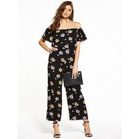 Fashion Union Dallas Floral Bardot Jumpsuit, Multi, Size 8, Women
