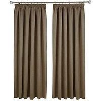 Made To Measure Faux Suede Pleated Curtains &Ndash; Chocolate
