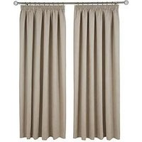 Made To Measure Faux Suede Pleated Curtains &Ndash; Natural