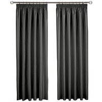 Made To Measure Faux Silk Pleated Curtains &Ndash; Black