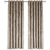 Made To Measure Luxury Crushed Velvet Eyelet Curtains &Ndash; Champagne