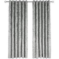 Made To Measure Luxury Crushed Velvet Eyelet Curtains &Ndash; Steel