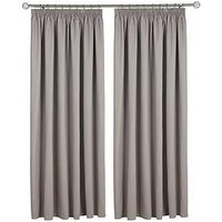 Made To Measure Woven Blackout Pleated Curtains &Ndash; Smoke