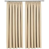 Made To Measure Woven Blackout Pleated Curtains &Ndash; Oatmeal