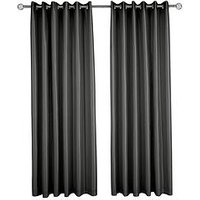 Made To Measure Faux Silk Eyelet Curtains &Ndash; Black