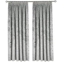 Made To Measure Luxury Crushed Velvet Pleated Curtains &Ndash; Steel