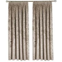 Made To Measure Luxury Crushed Velvet Pleated Curtains &Ndash; Champagne