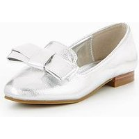 V by Very Fifi Bow Metallic Loafer, Silver, Size 13 Younger