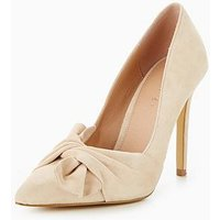 V by Very Jaquie Real Suede Knot Detail Heeled Shoe - Nude, Nude, Size 8, Women