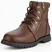 V by Very Baker Zip Worker Boys Boot, Brown, Size 1 Older