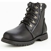 V by Very Baker Zip Worker Boys Boot, Black, Size 10 Younger