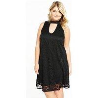V by Very Curve A-Line Swing Lace Dress, Black, Size 16, Women