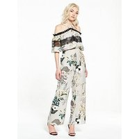 RI Petite Lace Insert Printed Jumpsuit, Grey Floral, Size 6, Women