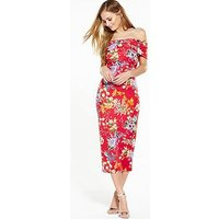 V by Very Bow Bardot Midi Dress, Print, Size 8, Women
