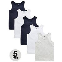 Boys, V by Very 5 Pack Basic Vests, Multi, Size 16 Years